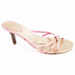 LILLY PULITZER Gold and Pink Sandal Heels, Size 10